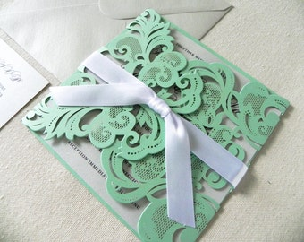 Vintage Mint Green Lace Laser Cut Wedding Invitation Suite for Glamorous Wedding - Laser Cut Gate Fold, Insert Card, RSVP Card,  Envelopes