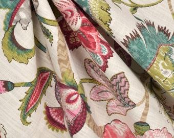 Pair designer drapes,   P Kaufmann finders keepers raspberry, custom drapes