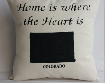 COLORADO State pillow, Home is where the heart is, handmade decorative throw pillow, gift  Free shipping,