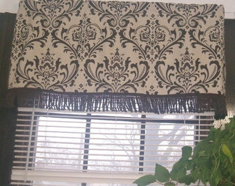 Valance with bullion fringe, brown and natural damask, cotton
