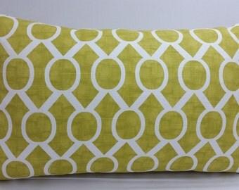 "Sydney artist citrine green toss pillow, 20 x 12"" lumbar, orange and white, RTS"