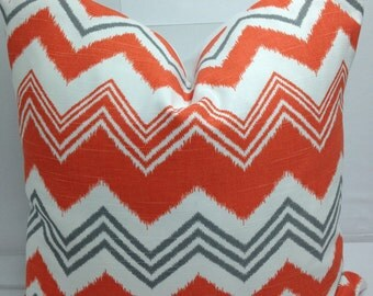 "Zazzle, chevron, zigzag pillow, chiili pepper, orange, grey, white 18"" square"