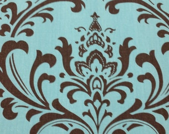 RTS Lined scallop valance, 42 x 16 inches, aqua blue and brown damask,