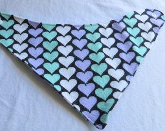 Pastel Hearts Bandanna Bib, Drool Bib, Baby Bib, Heart, Valentine's Day, Baby accessories,