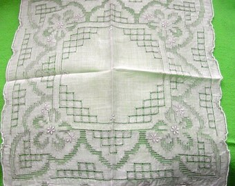 EXQUISITE Antique Vintage Bridal Wedding Hankie Hanky Handkerchief with Gorgeous Hand Embroidery ( #1 )