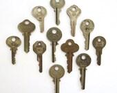 12 vintage keys, antique keys, old keys, interesting old keys, flat keys, words and writing, bulk keys, wedding, numbers, metal keys, A1. 3