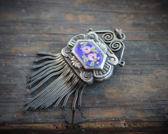 Large Victorian Silver Enamel Tassel Fob Pendant / French Blue Enamel with Roses / Double Sided / 17 Srand Tassel