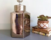 Vintage 1970's Tyndale Mirrored Ceramic Lamp Hobnail Studs Metal Tea Canister Hexagonal Table Lamp