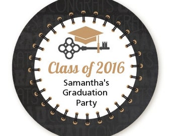 Grad Keys To Success- Personalized Round Graduation Party Sticker Labels - Available in 8 Different Sizes - Custom Design