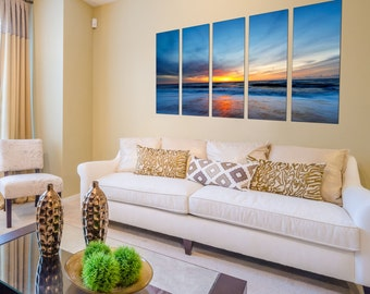 Canvas Prints - Beach Canvas Print - Sunset Canvas Art - Beach Canvas Photo Prints - Framed Ready to Hang - Seascape Prints