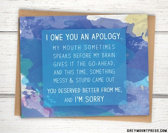 I'm sorry card. Apology card on watercolor background.