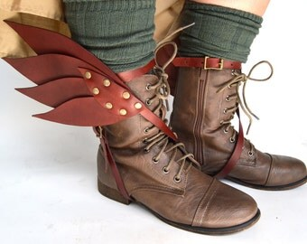 Hermes Winged Leather Spats in Bordeaux
