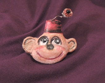 Jewelry Brooch, Monkey Pin, Hand Painted Jewelry, Clay Jewelry, Handmade Brooch, Animal Jewelry, Jewelry Gift, Ladies Gift, Teen Gift, Pin