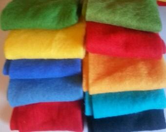 Merino Wool prefelts: 10 colours for Wet Felting or Needle Felting