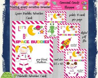 Space Buddies Kids Printable Valentines Cards Instant Download pdf file