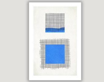 Blue Square, Geometric Print, abstract art, geometric art, abstract poster, minimalist art, mid century modern, blue black decor, wall art