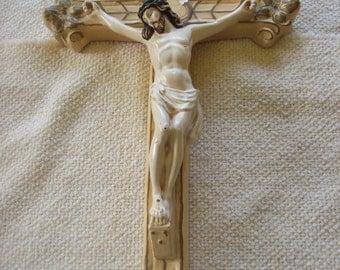 Beautiful Chalkware Crucifix Cross Home Decor