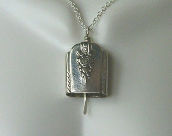 "Vintage Sterling Silver Silverware Bell Pendant with 20"" Cable Chain"