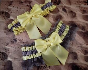 Yellow Satin Gray Lace Gray Satin Wedding Bridal Garter Toss Set