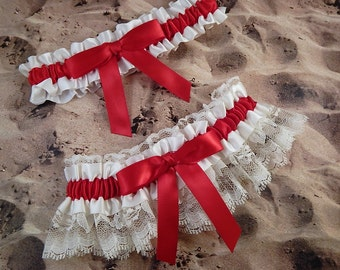 Red Ribbon Ivory Lace Bridal Wedding Garter Toss Set