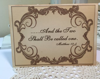 And the Two Shall Be called One Thank You Card Wedding Day, Bride and Groom Card, Vintage Wedding Card