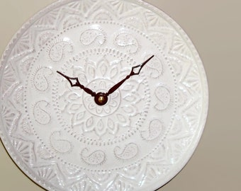 NEW!  Whitewash Lacy Wall Clock SILENT - 8-1/2 Inches, Kitchen Wall Clock, Stoneware Plate Clock, Unique Wall Clock - 2225