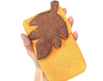Maybelle Felt Purse Saffron Yellow Hand Knit Wool Leaf Copper Chain