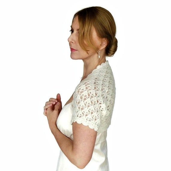 Cashmere Wedding Shrug SALE Bridal Cover Up Ivory Bella Hand Knit Lace Knitted Merino Wool XS