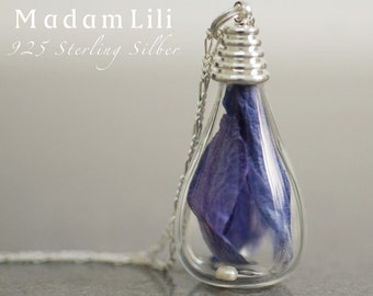 925 Sterling Silver Dried Delphinium Necklace