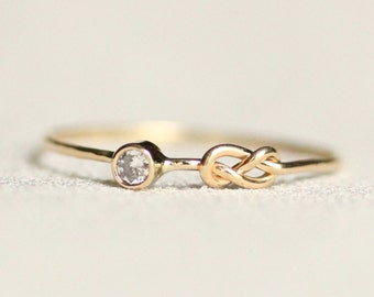 Delicate Infinity Knot Natural White Diamond Solid 14k Rose or White or Yellow Gold Stacking Ring - Tiny Dainty Love Knot Stacking Ring