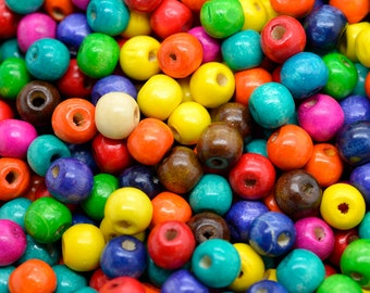Wood Beads, 10x8mm, Mixed Color, 200 pcs, Colored Wood Beads, Hemp Beads -B479