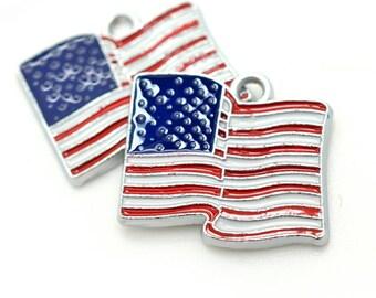 American Flag Pendant, 5pcs, 23x18mm, USA Flag, Patriotic Charms – C552