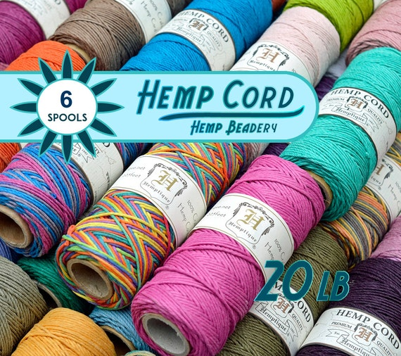 Hemp Cord  1mm, 6 Spools, Bead Cord,  Colored  Twine, Hemp Jewelry Cord, Bulk   Cord, Choose The Colors, Bulk Hemp Cord