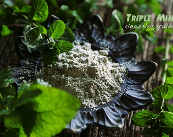 Triple Mint Facial Cleansing Grains. Peppermint, Melissa, Spearmint - for triple refreshment. VEGAN face wash. SAMPLE