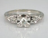Old European Cut Diamond Engagement Ring - Three Stone Ring