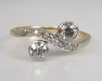 "Antique Diamond Ring - ""Forever"" Diamond Ring - Old European Cut Diamonds - Crossover Ring - 14K and Platinum"