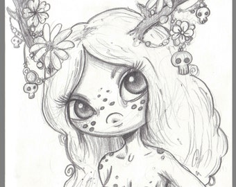 Day #353 - Flowers and Skulls - antler freckle girl kawaii  halloween - original sketch a day drawing! 5.5 x 8.5