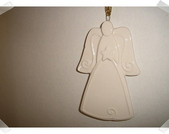 Angel Ornament/White Porcelain / Holiday Decor/ Craft Supply*