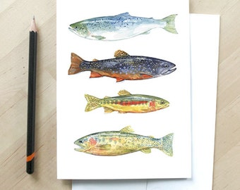 Fish watercolor art card, colorful trout and fly fishing card
