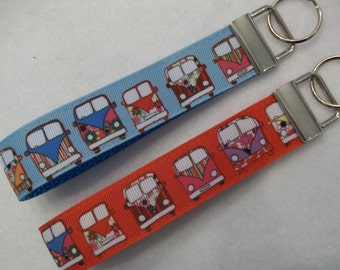 Hippie Camper Bus Wrist Keychain with 2 Color Choices