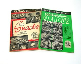 1940's Cookbooks, 500 Delicious Salads And 500 Snacks