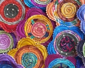 5 Handmade Fabric Batik Swirl Quilted Stacked Layer Flowers Appliques Label Tag Bright