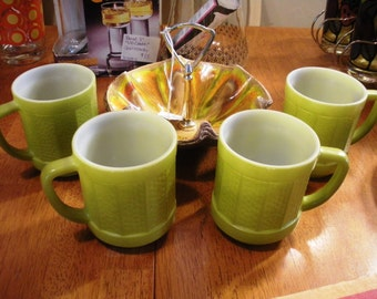 Set of 4 Federal Glass Fired-On Color Lime Green Textured Panel Coffee Mugs