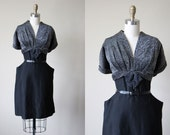 40s Dress - Vintage 1940s Dress - Silver Lurex Black Silk Wool Bust Shelf Bombshell Dress L XL - Talk a Silver Streak Dress