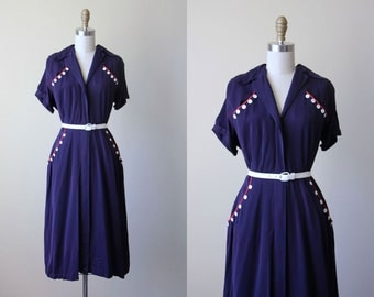 1940s Dress - Vintage 40s Dress - Navy Gabardine Rayon w Red White Button Novelty Trim Swing Dress L - Maizey Dress