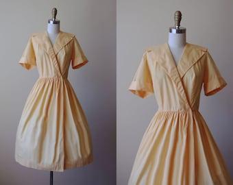 50s Dress - Vintage 1950s Dress - Marigold Yellow Cotton Full Skirt Sailor Collar Shirtwaister Dress L XL - Beeline Dress