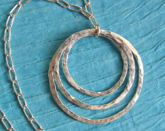 Triple Hoop Pendant, 14 Gauge Fine Silver, Fused and Hammered