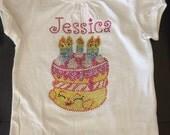 Shopkins birthday cake personalized rhinestone shirt sizes girls 4/5-14/16