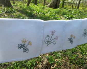 Violets and Buttercups Cloth Napkins- hand stitched
