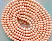 Mediterranean Angel Skin Coral Beads, Vintage, Peach, Pink, 5mm 5274*